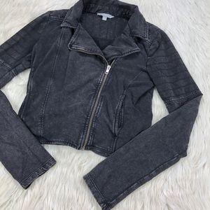 Rubbish Asymmetrical Zip Knit Moto Jacket